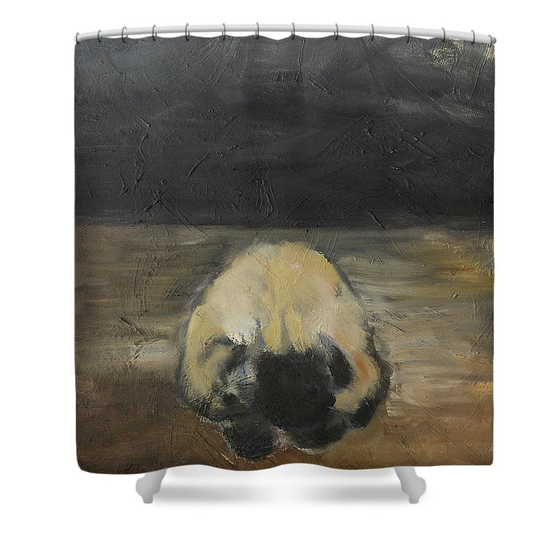 Abstract Landscape Shower Curtain featuring the painting Tantric Fetal Pose by Craig Newland