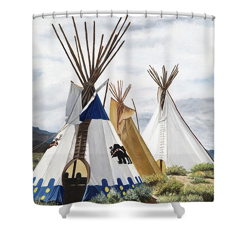 Art Shower Curtain featuring the painting Taos by Mary Rogers