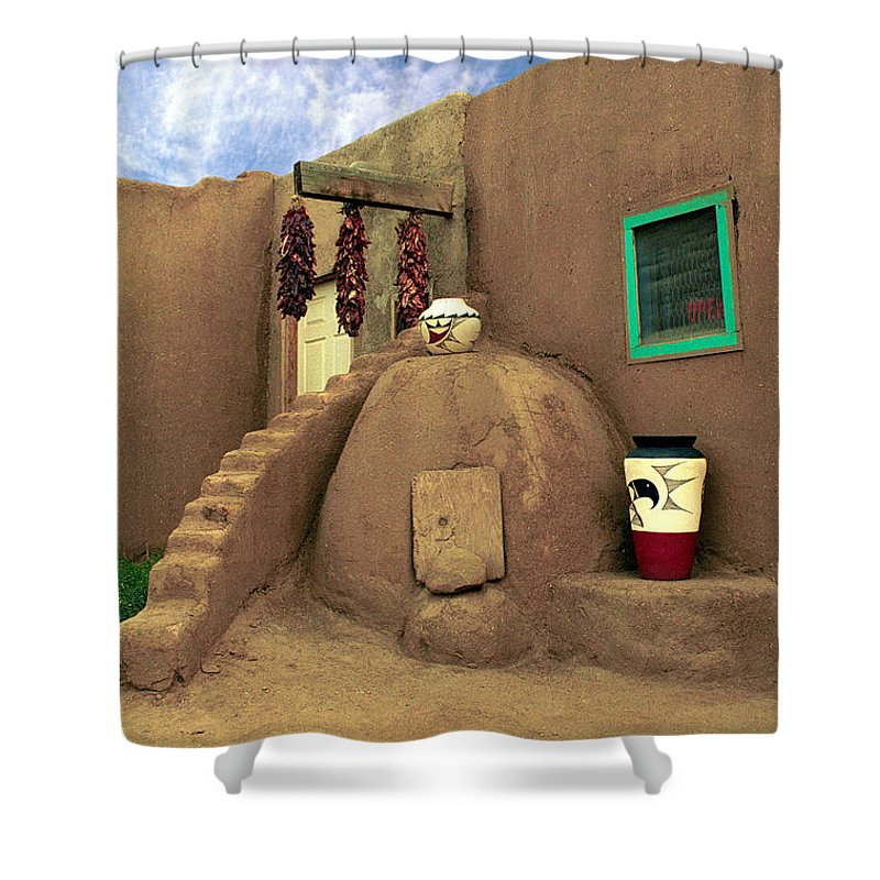 Pueblo Shower Curtain featuring the photograph Taos Oven by Jerry McElroy