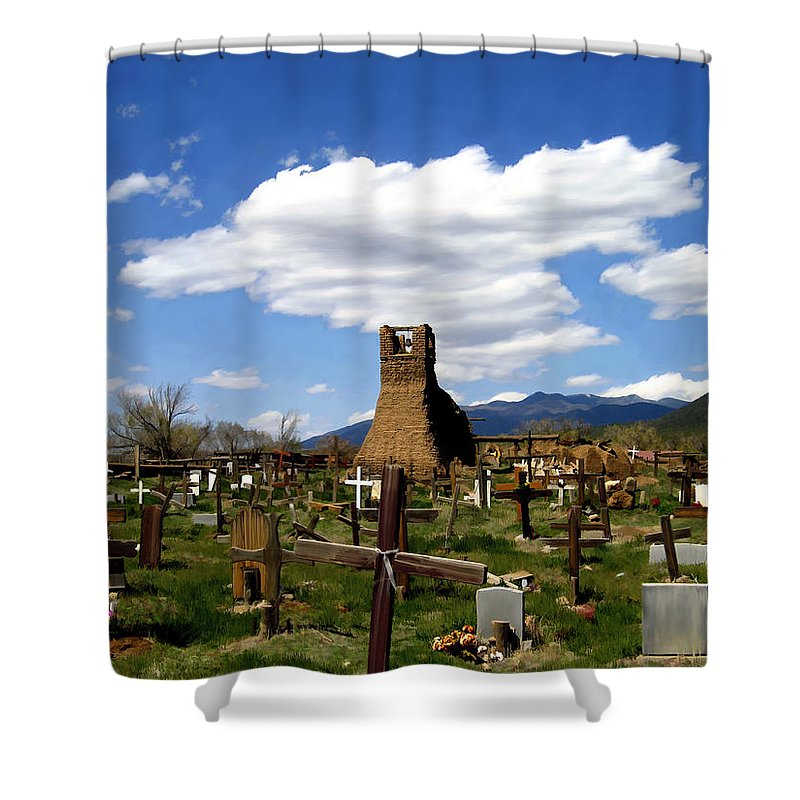Taos Shower Curtain featuring the photograph Taos Pueblo Cemetery by Kurt Van Wagner