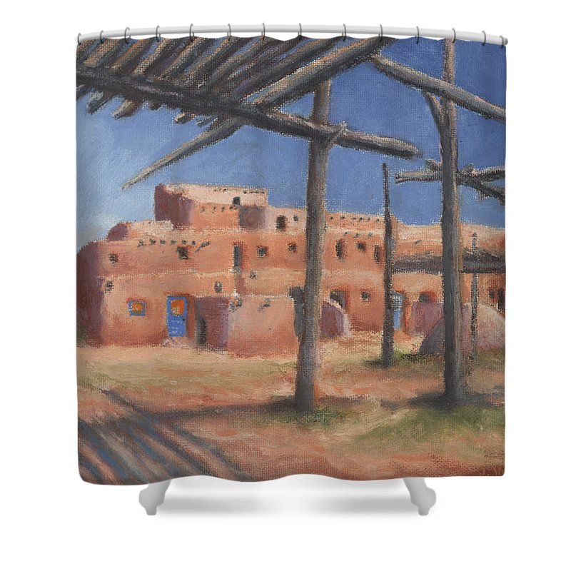 Taos Shower Curtain featuring the painting Taos Pueblo by Jerry McElroy