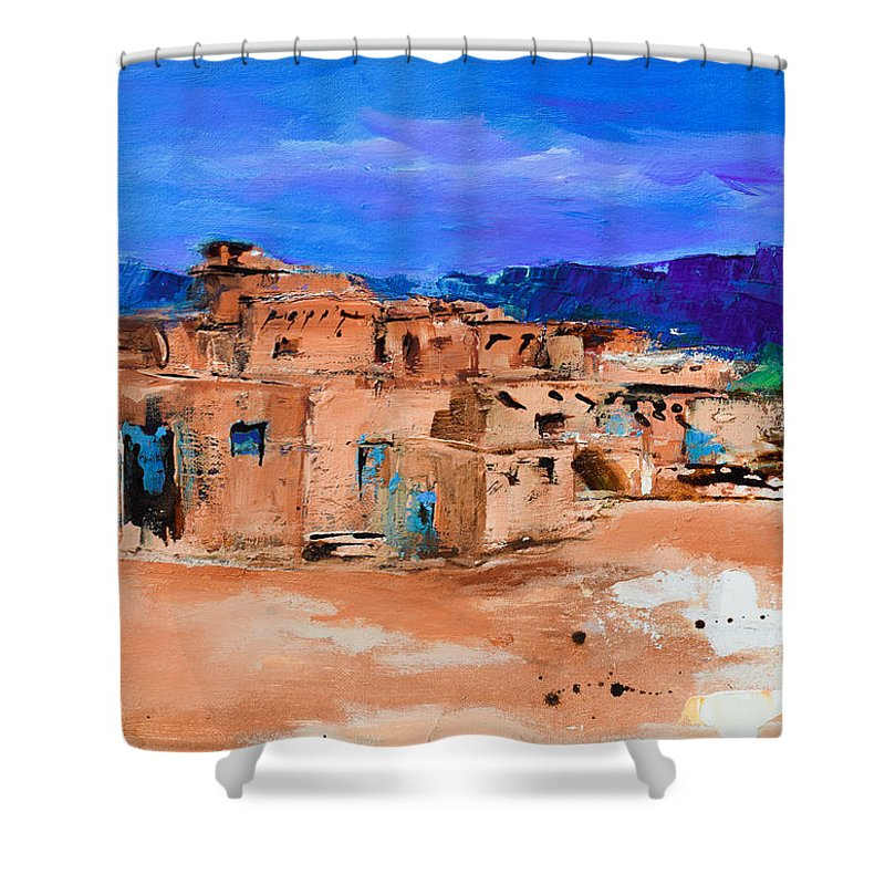 Taos Shower Curtain featuring the painting Taos Pueblo Village by Elise Palmigiani