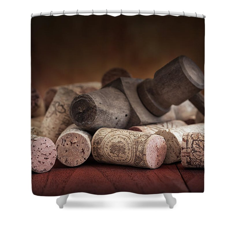 Aged Shower Curtain featuring the photograph Tapped Out - Wine Tap With Corks by Tom Mc Nemar