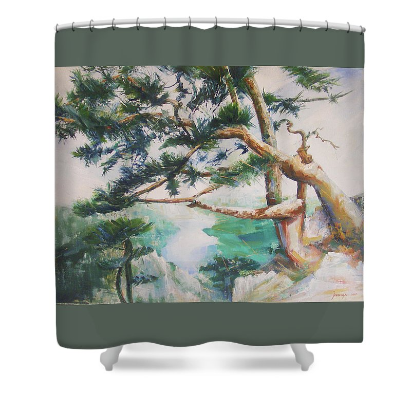 Oil Shower Curtain featuring the painting Tara by Jovica Kostic