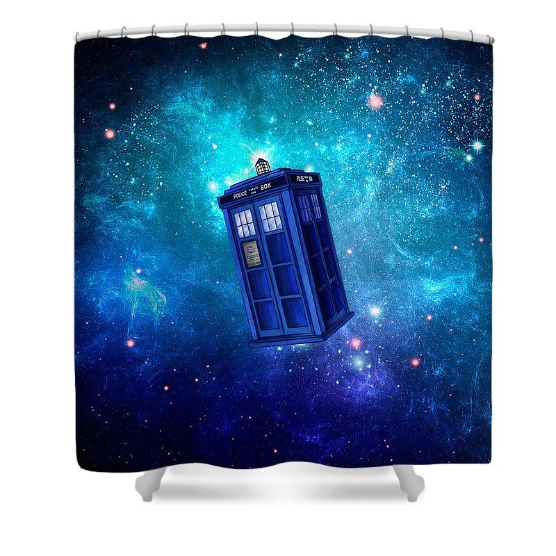 Tardis Shower Curtain featuring the digital art Tardis Blue Space by Koko Priyanto