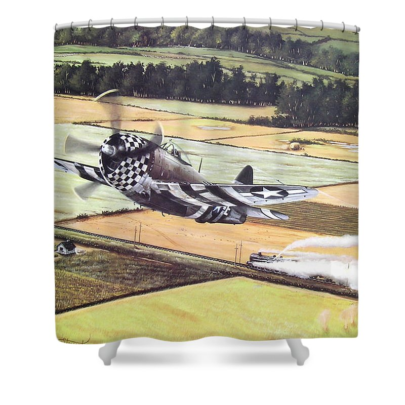 Military Shower Curtain featuring the painting Target Of Opportunity by Marc Stewart