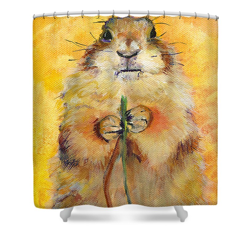 Prairie Dog Painting Shower Curtain featuring the painting Target by Pat Saunders-White