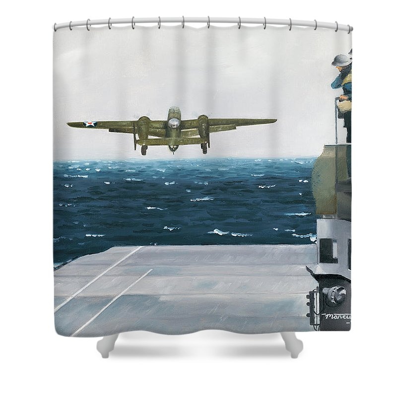 Aviation Shower Curtain featuring the painting Target Tokyo by Marc Stewart