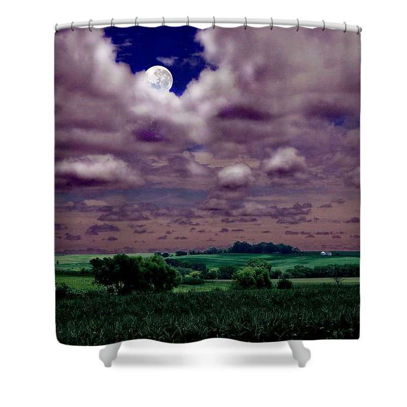Landscape Shower Curtain featuring the photograph Tarkio Moon by Steve Karol