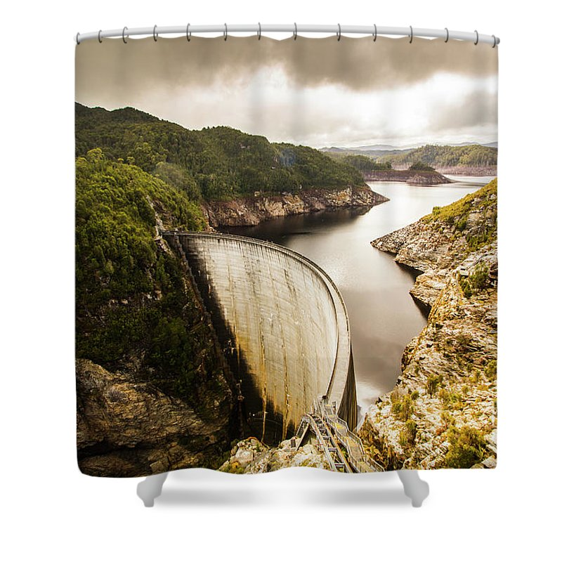Dam Shower Curtain featuring the photograph Tasmania Hydropower Dam by Jorgo Photography - Wall Art Gallery