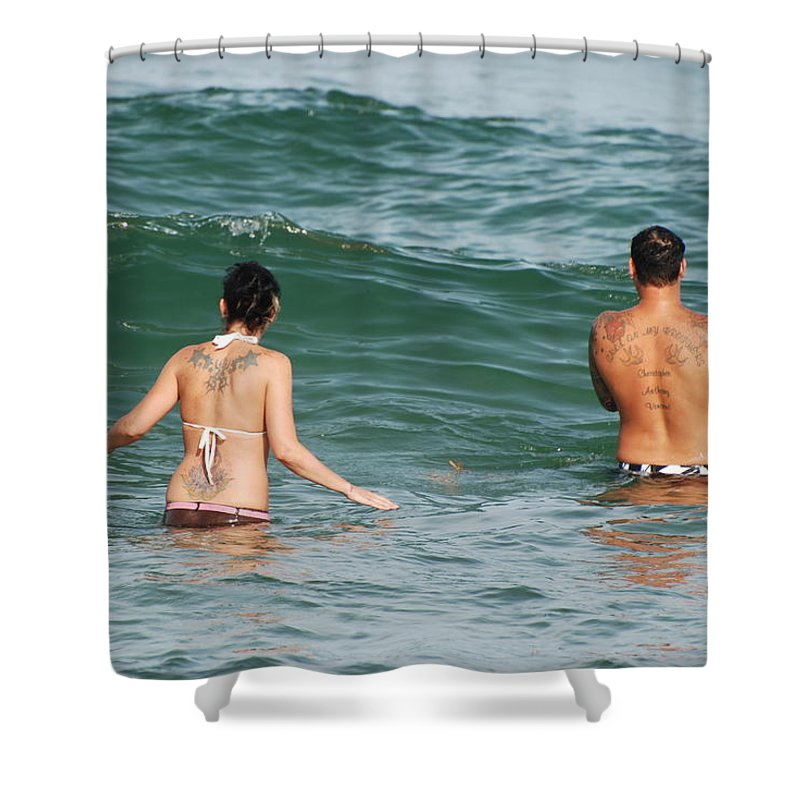 Sea Scape Shower Curtain featuring the photograph Tattoo Family by Rob Hans