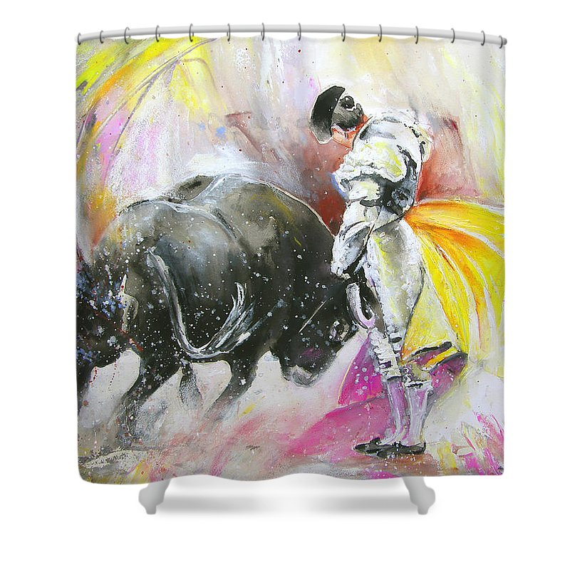 Animals Shower Curtain featuring the painting Taurean Power by Miki De Goodaboom