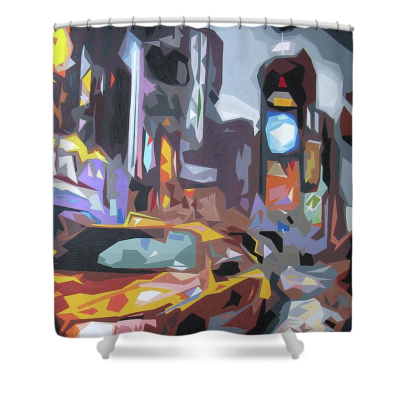 Taxi Shower Curtain featuring the digital art Taxi On Broadway by Sabino Caputo