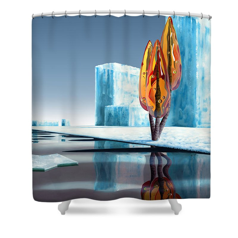 Architecture Shower Curtain featuring the painting Taxus Glacialis by Patricia Van Lubeck