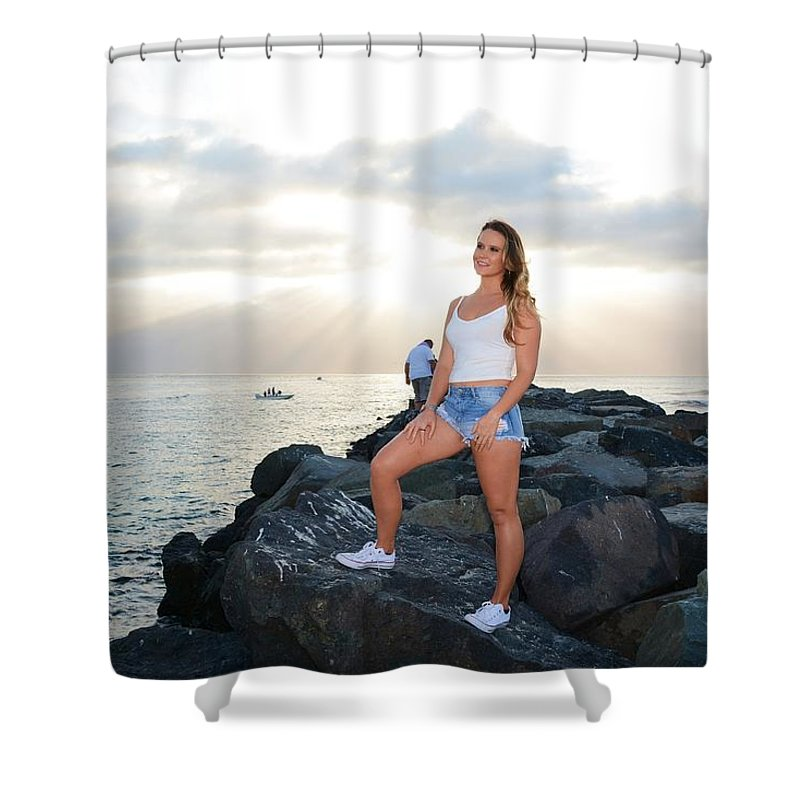 Fashion Shower Curtain featuring the photograph Taylor 035 by Remegio Dalisay