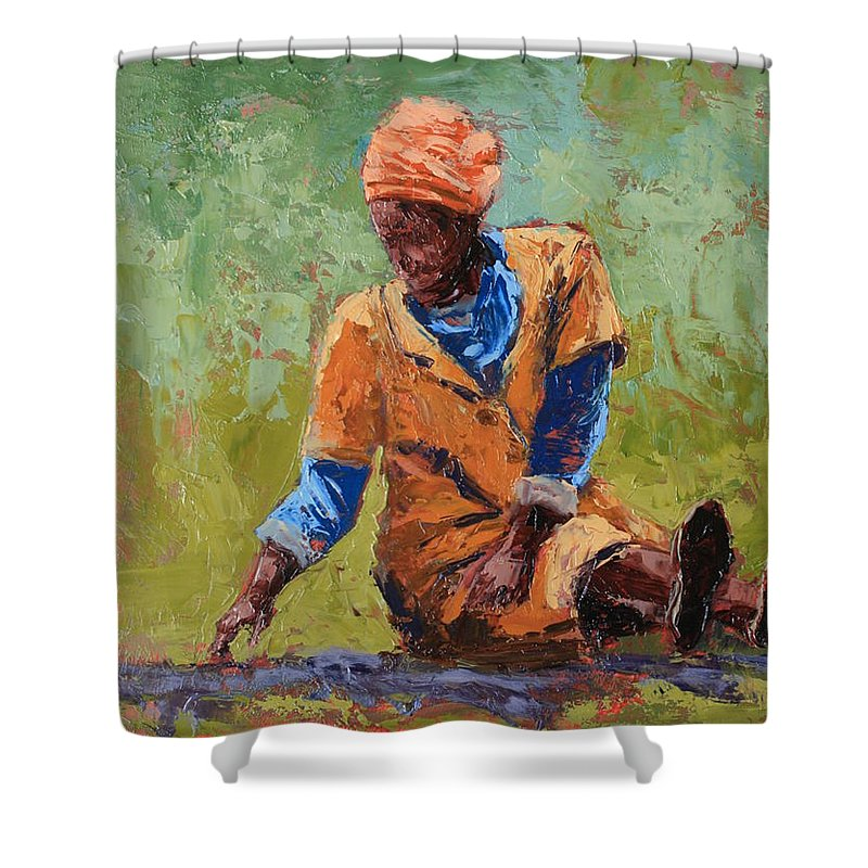 Figures Shower Curtain featuring the painting Tea Break by Yvonne Ankerman