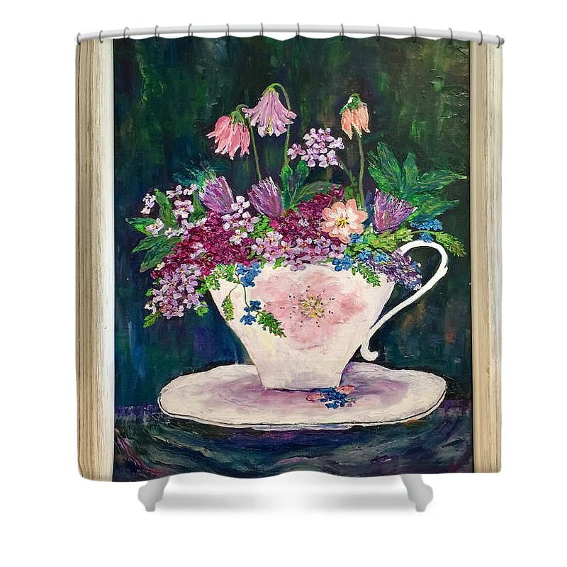 Original Oil Painting Of Flowers. Shower Curtain featuring the painting Tea Cup Bloom by Fatema Ansari