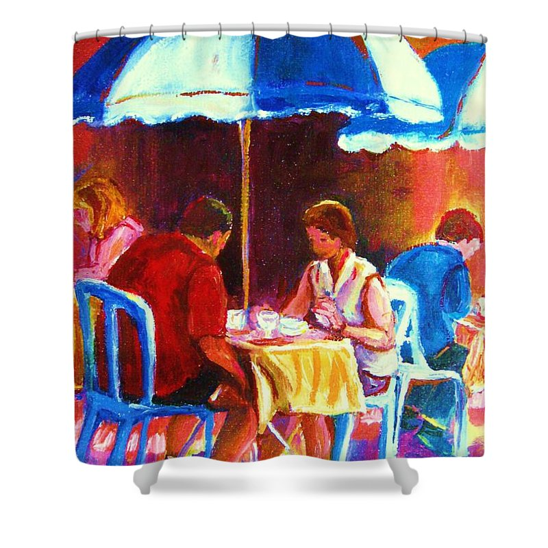 St. Denis Outdoor Cafe Montreal Street Scenes Shower Curtain featuring the painting Tea For Two by Carole Spandau