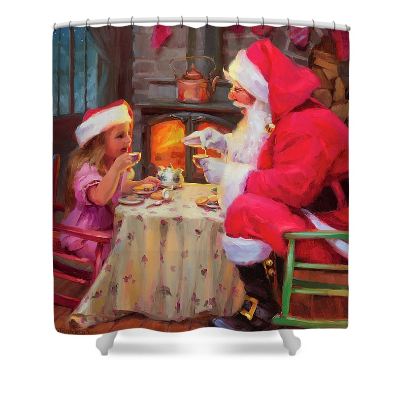 Christmas Shower Curtain featuring the painting Tea For Two by Steve Henderson