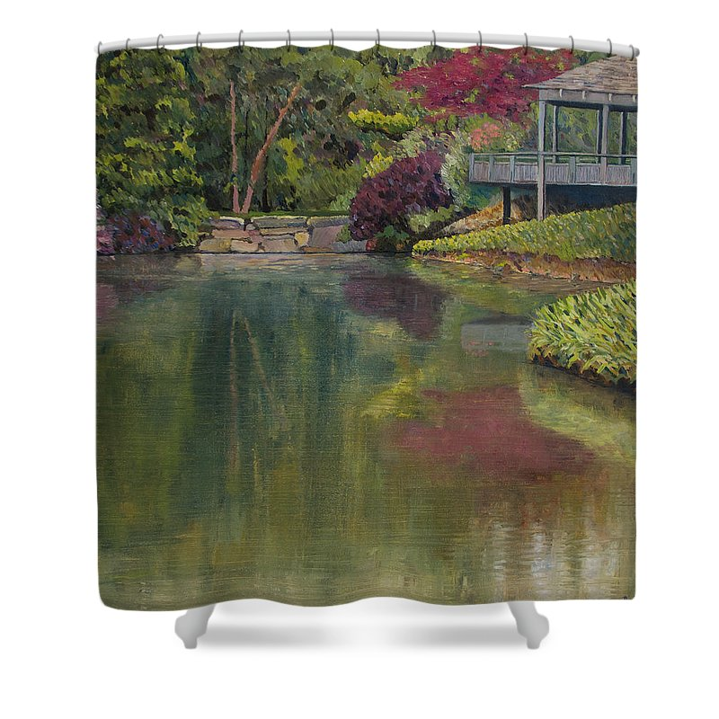 Impressionist Shower Curtain featuring the painting Tea House by Don Perino