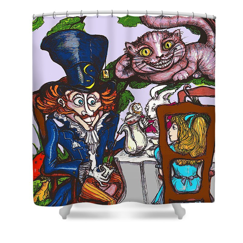 Alice In Wonderland Shower Curtain featuring the drawing Tea Party by Rae Chichilnitsky