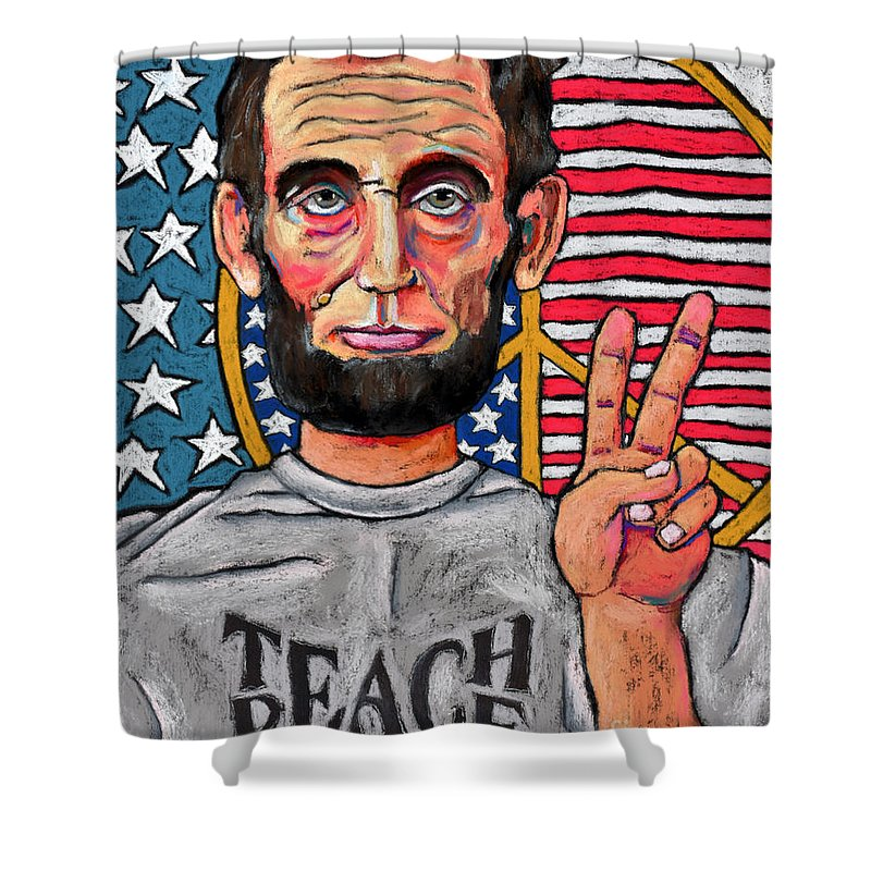Teach Peace Shower Curtain featuring the painting Teach Peace by David Hinds