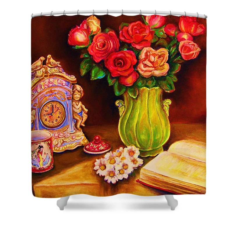 Impressionism Shower Curtain featuring the painting Teacup And Roses by Carole Spandau