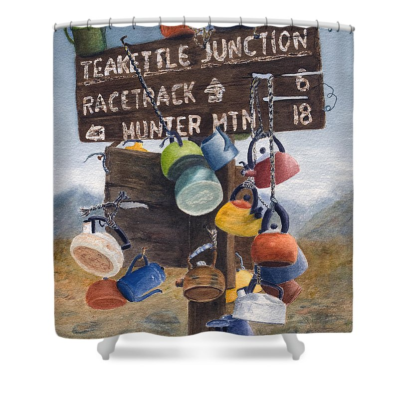 Teakettle Shower Curtain featuring the painting Teakettle Junction by Karen Fleschler