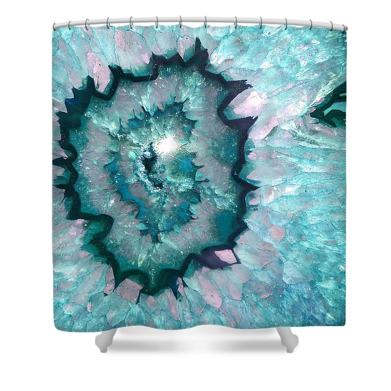 Sparkly Teal Agate With Druzy Crystals Shower Curtain Featuring The Photograph By Quarry