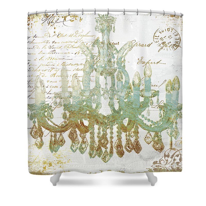 Teal And Gold Chandelier Shower Curtain For Sale By Mindy Sommers
