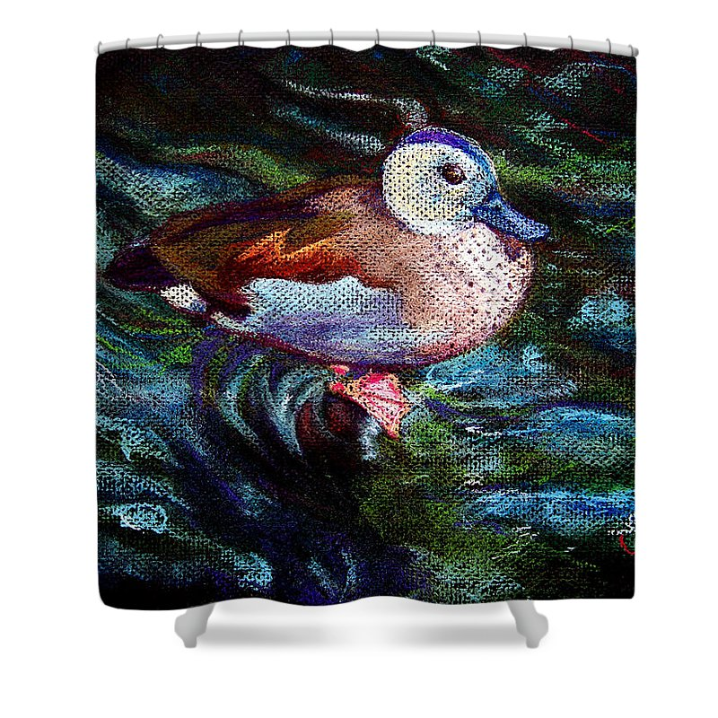 Teal Duck Shower Curtain featuring the painting Teal Duck Of Naples by Laurie Paci
