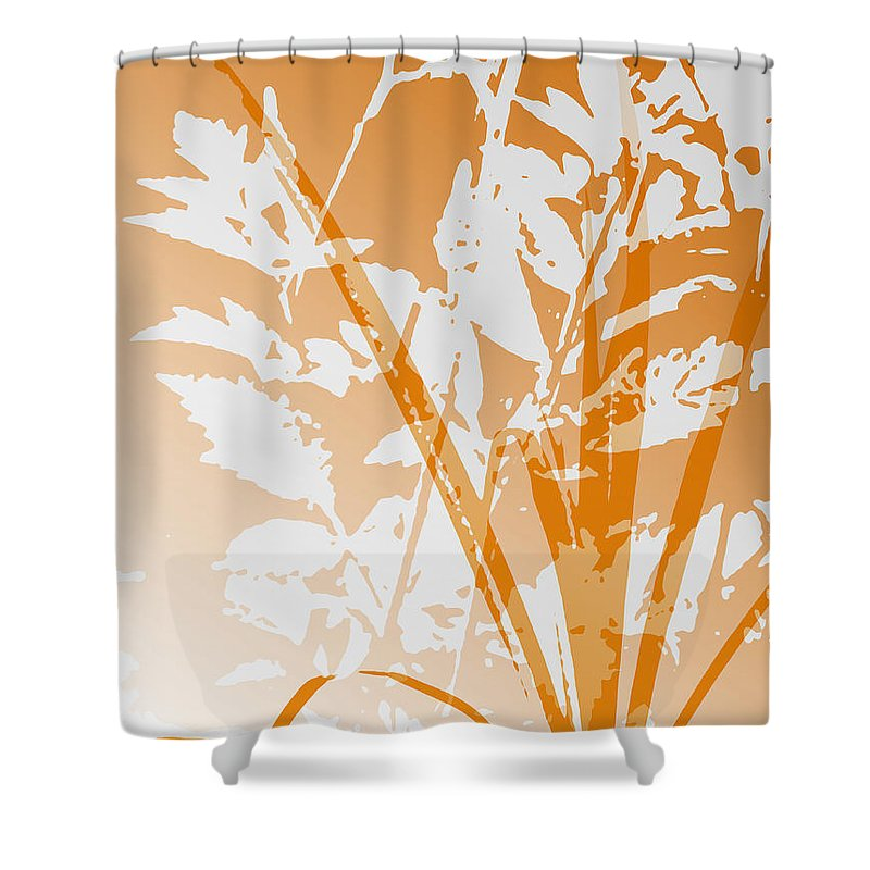 Abstract Shower Curtain featuring the digital art Team Orange by Ruth Palmer