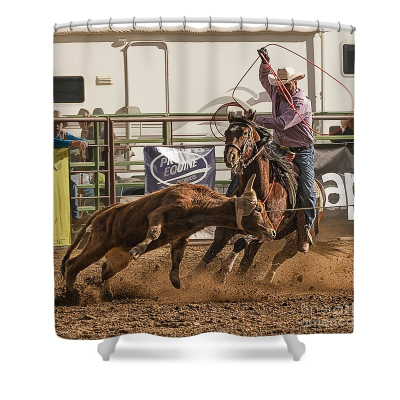 Team Roping At Wickenburg Senior Pro Rodeo Shower Curtain Featuring The  Photograph Team Roping At Wickenburg