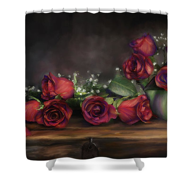 Digital Painting Shower Curtain featuring the digital art Teapot Roses by Susan Kinney