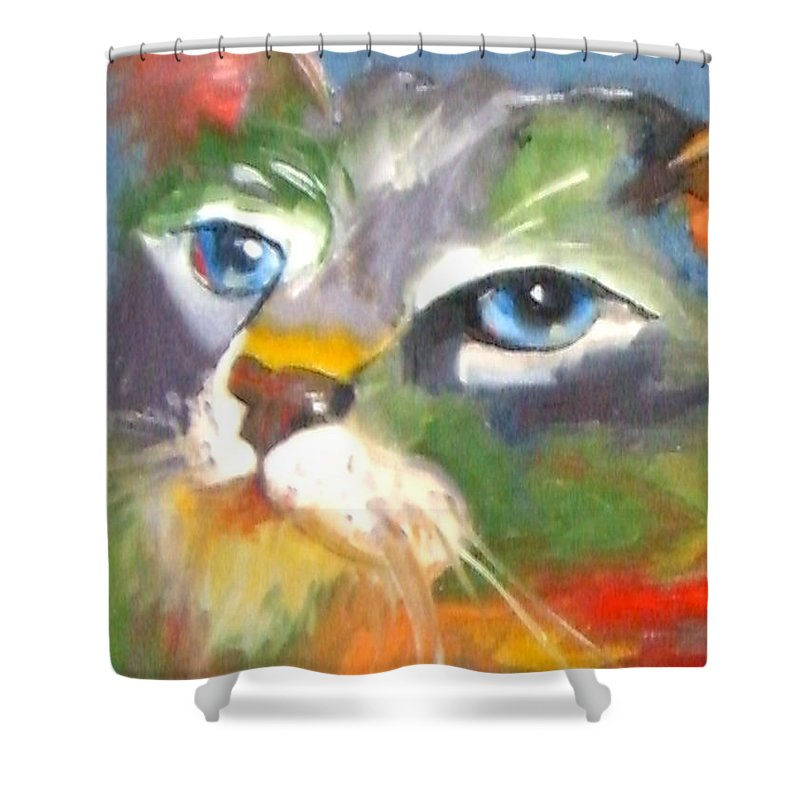 Cat Shower Curtain featuring the painting Technicolor Tabby by Susan A Becker