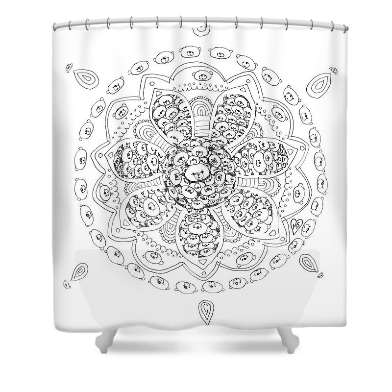 Shower Curtain featuring the drawing Teddy Bear Mandala by Melanie Sastria