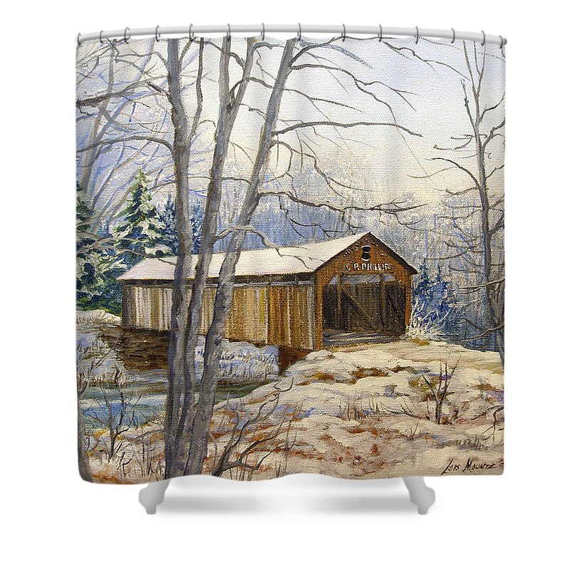 Oil Painting;bridge;covered Bridge;winter Scene;snow;landscape;winter Landscape; Shower Curtain featuring the painting Teegarden Covered Bridge In Winter by Lois Mountz