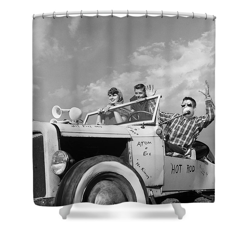 Teens In Hot Rod With Graffiti C1950s Shower Curtain For Sale By D