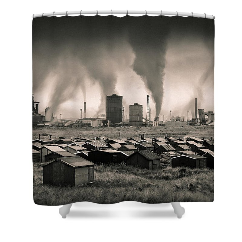 Teesside Steel Works Shower Curtain featuring the photograph Teesside Steelworks 1 by Dave Bowman