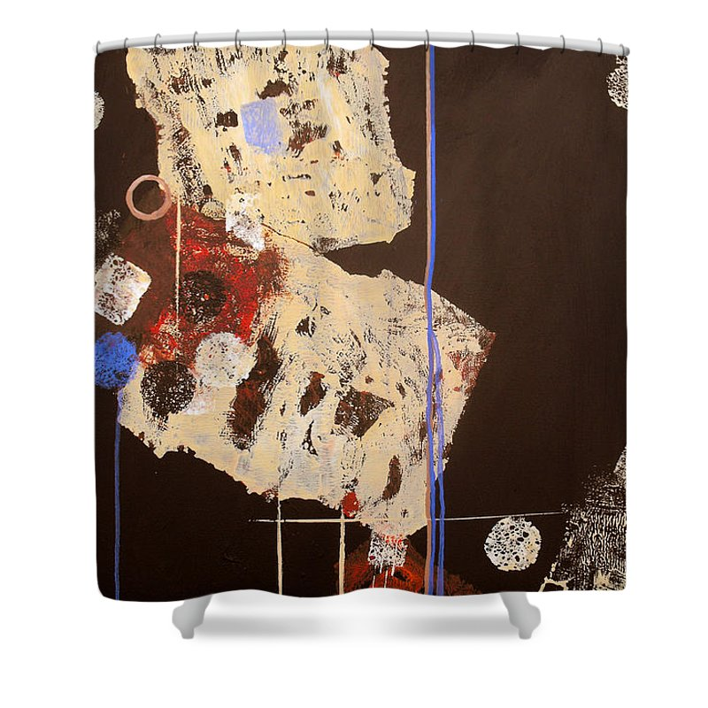 Abstract Shower Curtain featuring the painting Teeter by Ruth Palmer