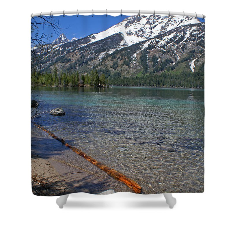 Grand Tetons Shower Curtain featuring the photograph Teewinot by Heather Coen