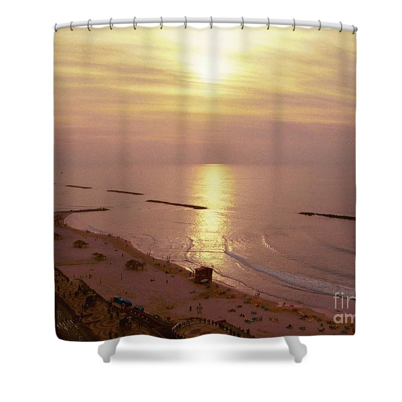 Nature Shower Curtain featuring the photograph Tel Aviv Beach Morning by Gail Kent