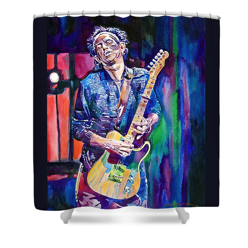Keith Richards Shower Curtain featuring the painting Telecaster- Keith Richards by David Lloyd Glover