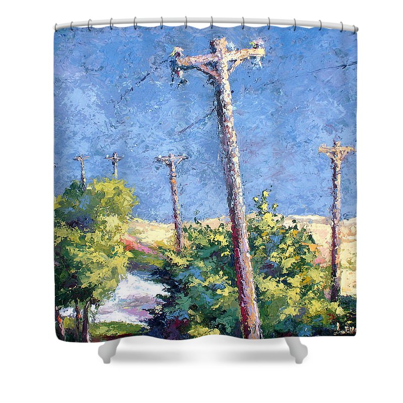 Landscape Painting Shower Curtain featuring the painting Telephone Poles Before The Rain by Lewis Bowman