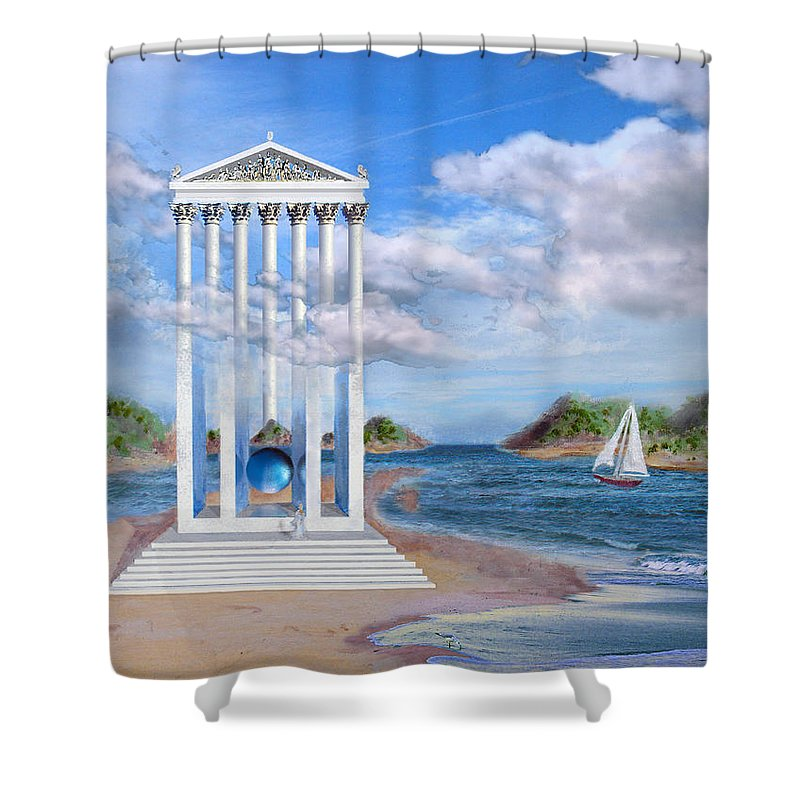 Landscape Shower Curtain featuring the painting Temple For No One by Steve Karol