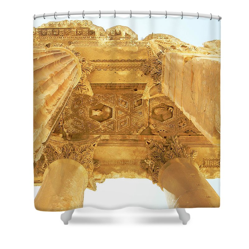 Marwan Khoury Shower Curtain featuring the photograph Temple Of Bacchus by Marwan George Khoury