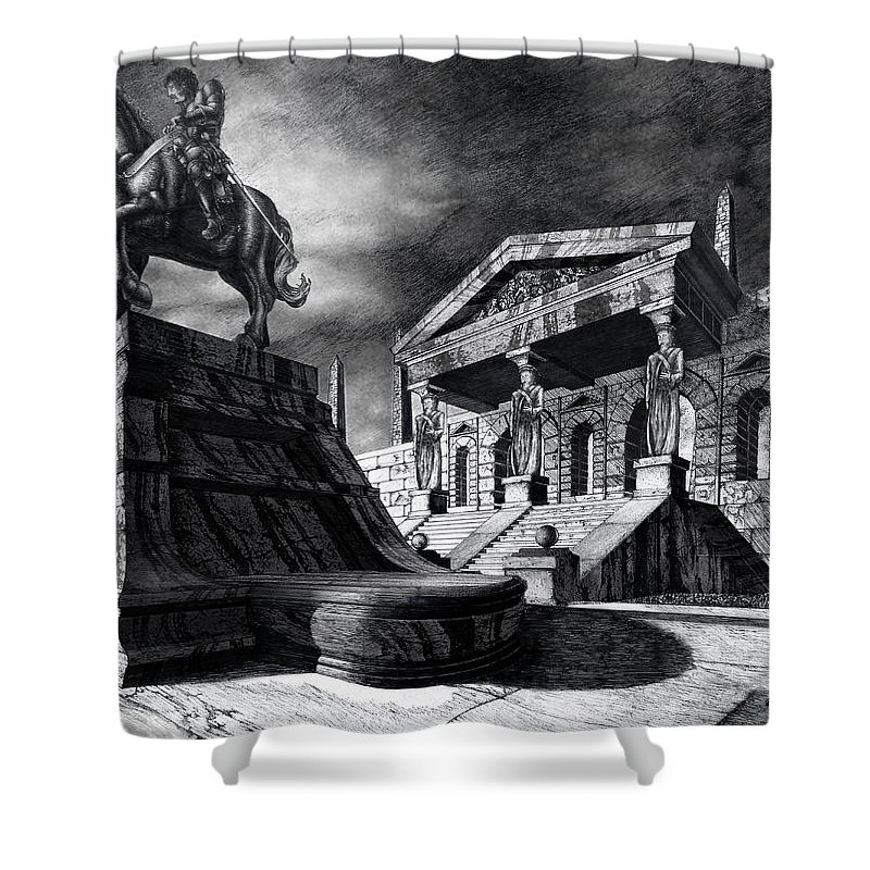 Greek Architecture Shower Curtain featuring the drawing Temple Of Perseus by Curtiss Shaffer
