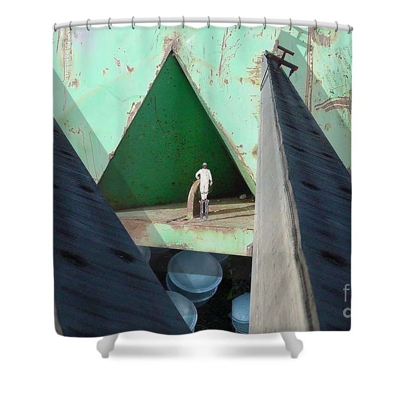 Abstract Shower Curtain featuring the digital art Temple by Ron Bissett