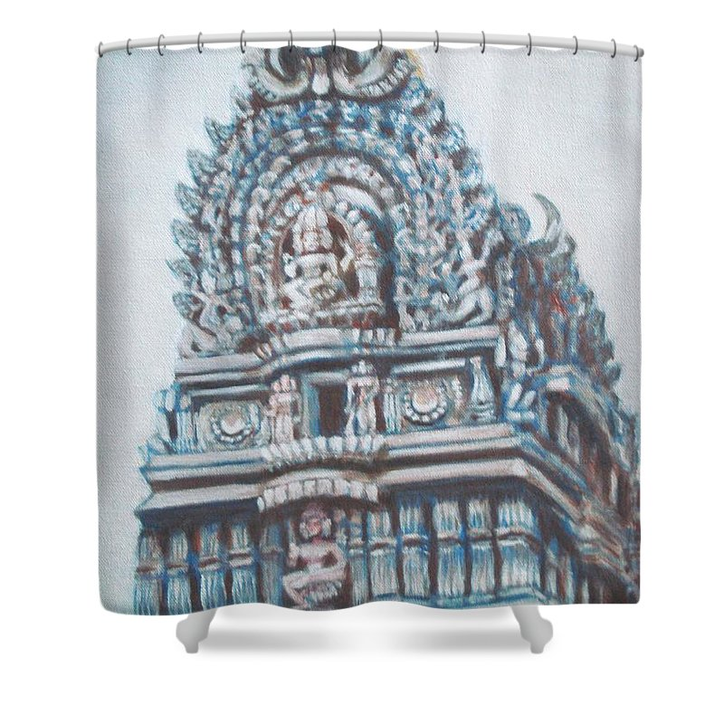 Temple Shower Curtain featuring the painting Temple by Usha Shantharam