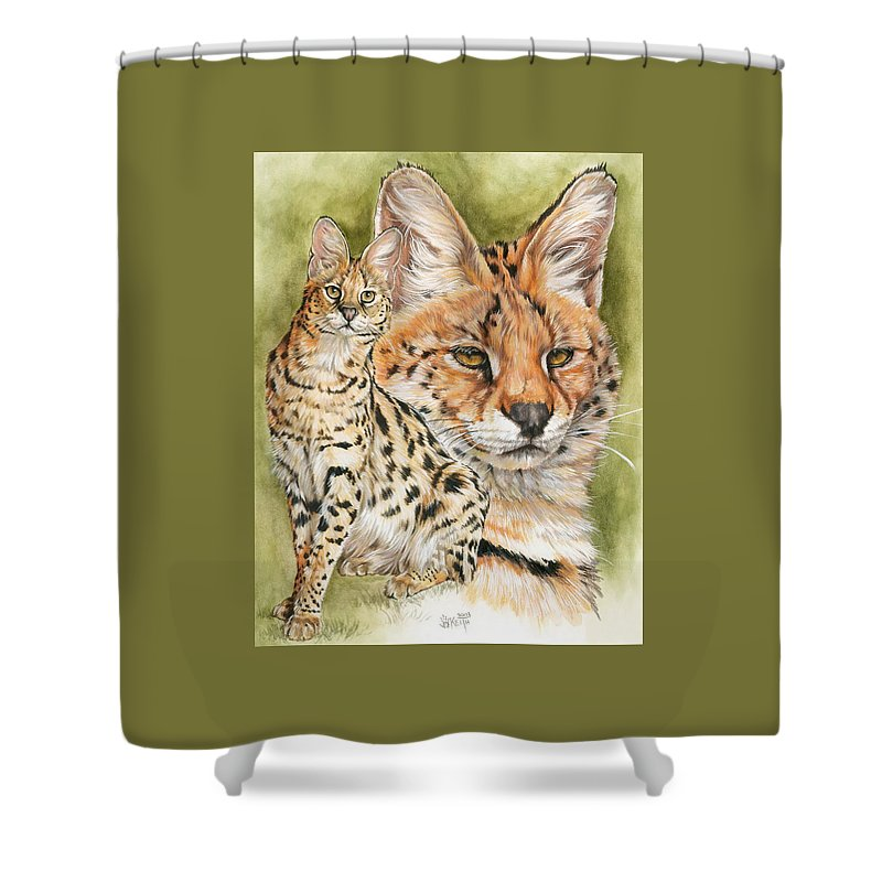 Serval Shower Curtain featuring the mixed media Tempo by Barbara Keith